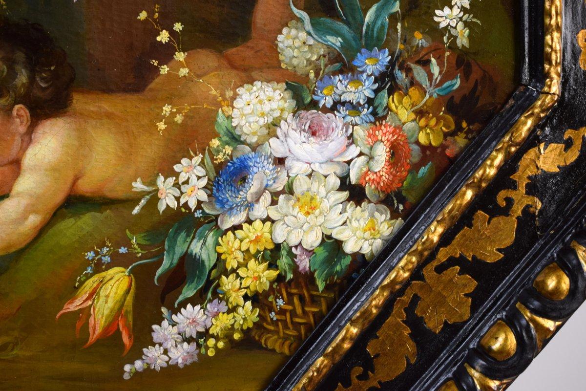 Peintre Romain Du XIXe Siècle,  Nature Morte Avec Putti, Festons De Fleurs, Huile Sur Toile-photo-7