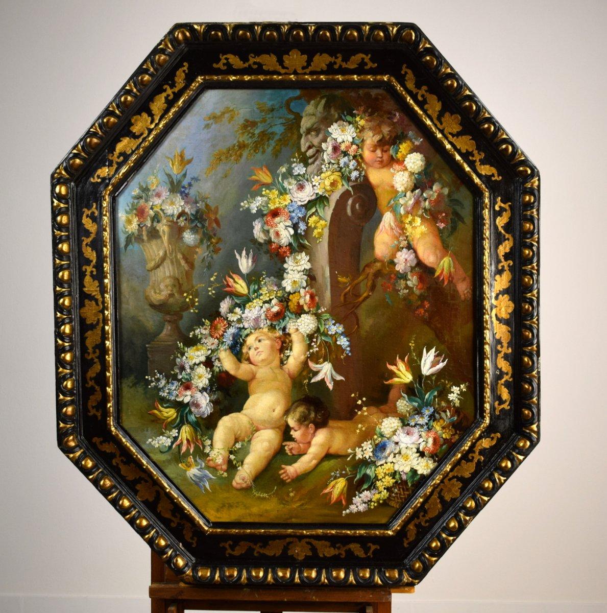 Peintre Romain Du XIXe Siècle,  Nature Morte Avec Putti, Festons De Fleurs, Huile Sur Toile