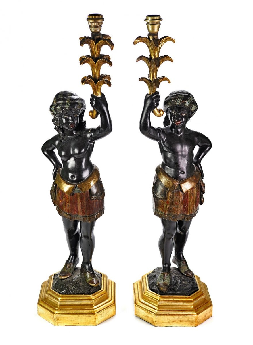 Pair Of Lacquered Wood Sculptures, Representative Of The Moors
