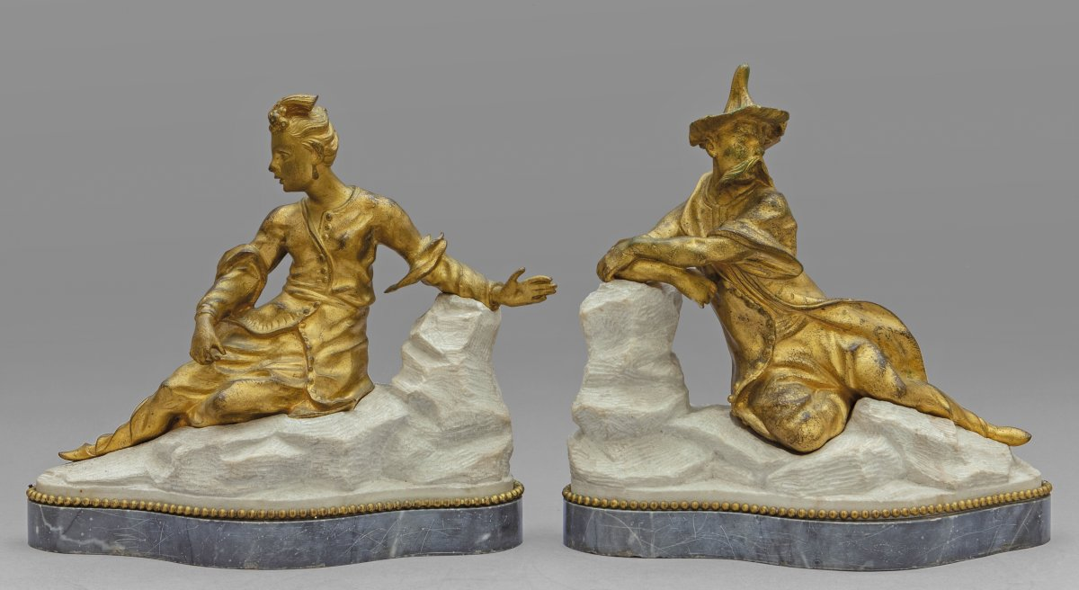 18th Century Pair Of French Gilt Bronze Sculptures On Marble Base Representing Chinese Figures