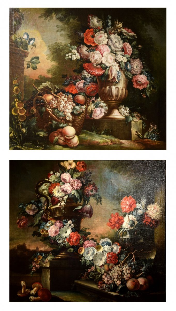 Couple De Natures Mortes, Pietro Francesco Gambone , Italie, XVIIIe Siècle
