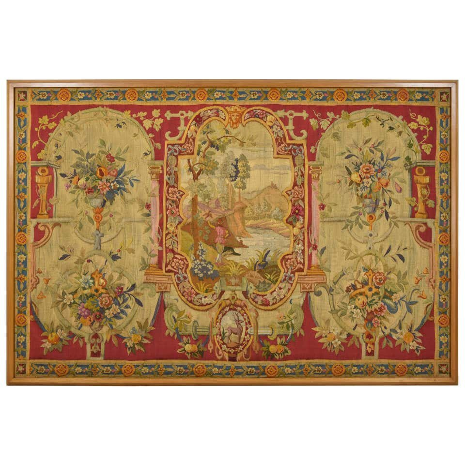 18th Century Wool Tapestry With Floral Decorations And River Landscape