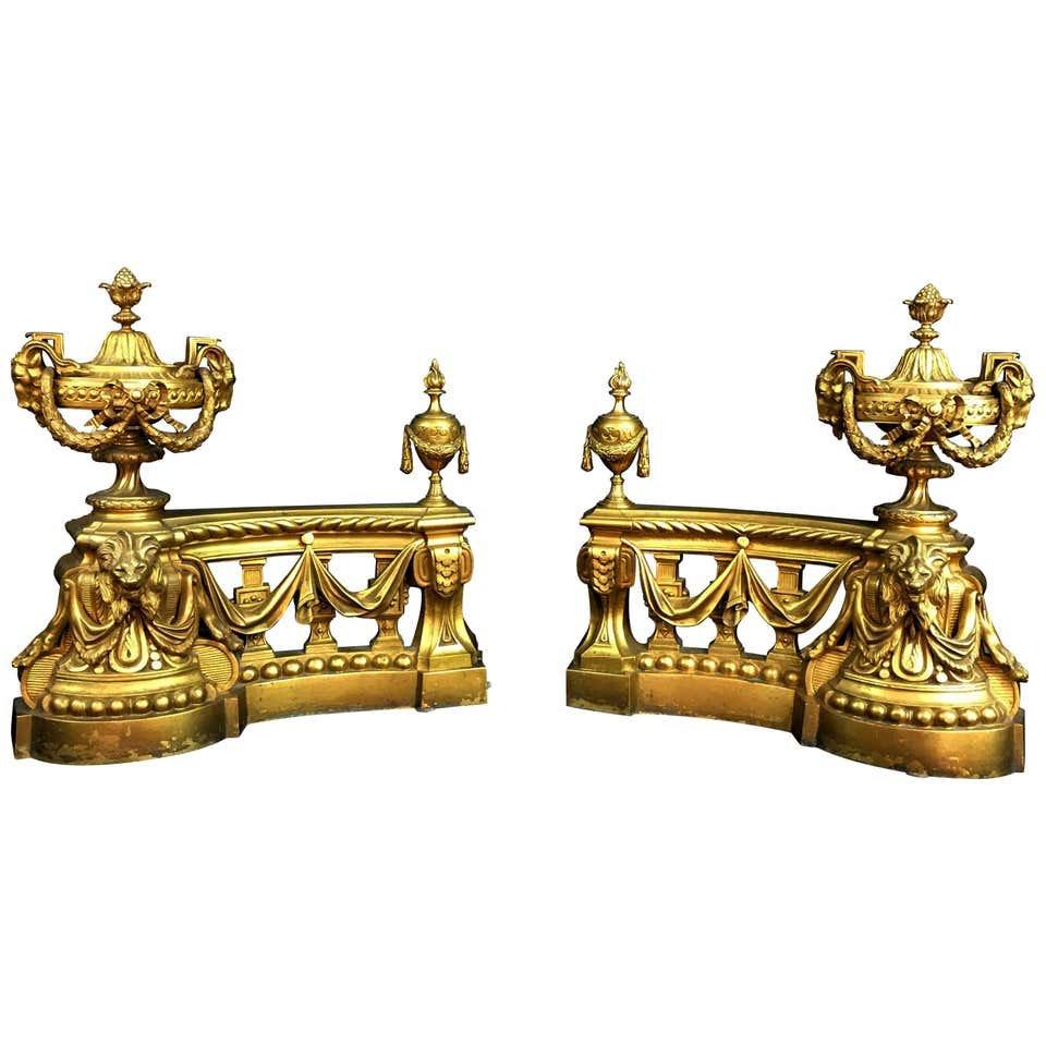 Paire De Chenets De Cheminée En Bronze Doré, France Fin XVIIIe Siècle