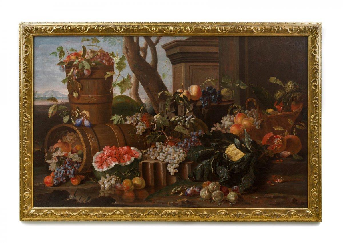 18th Century, Italian Oil On Canvas Still Life By Pietro Navarra