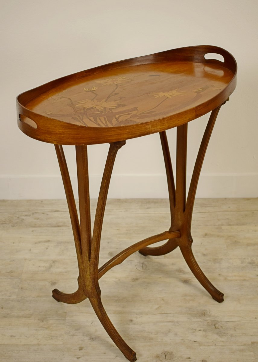 Table à Plateau Par Emile Gallé (signé) Finement Incrusté