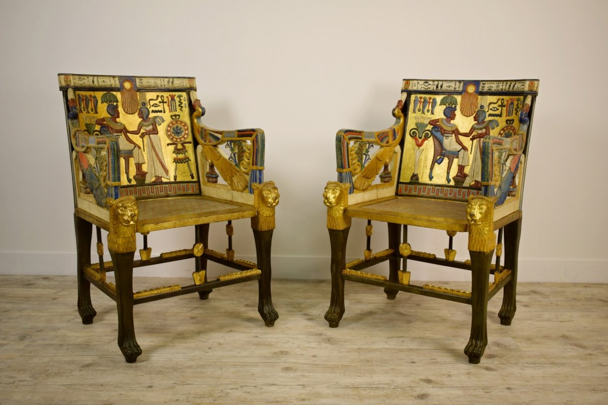 20th Century, Pair Of Lacquered Giltwood Armchairs In Egyptian Revival Style