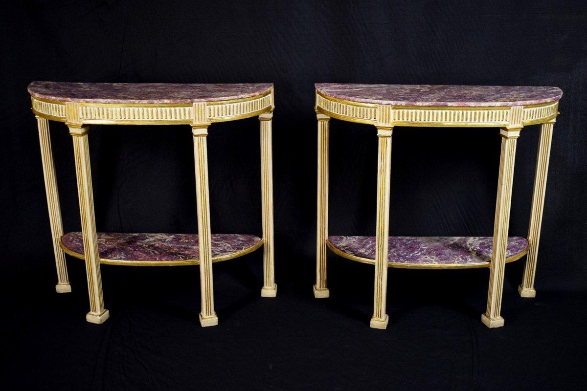 Couple De Consoles Néoclassiques En Bois Laqué Et Doré , Naples Fin XVIII