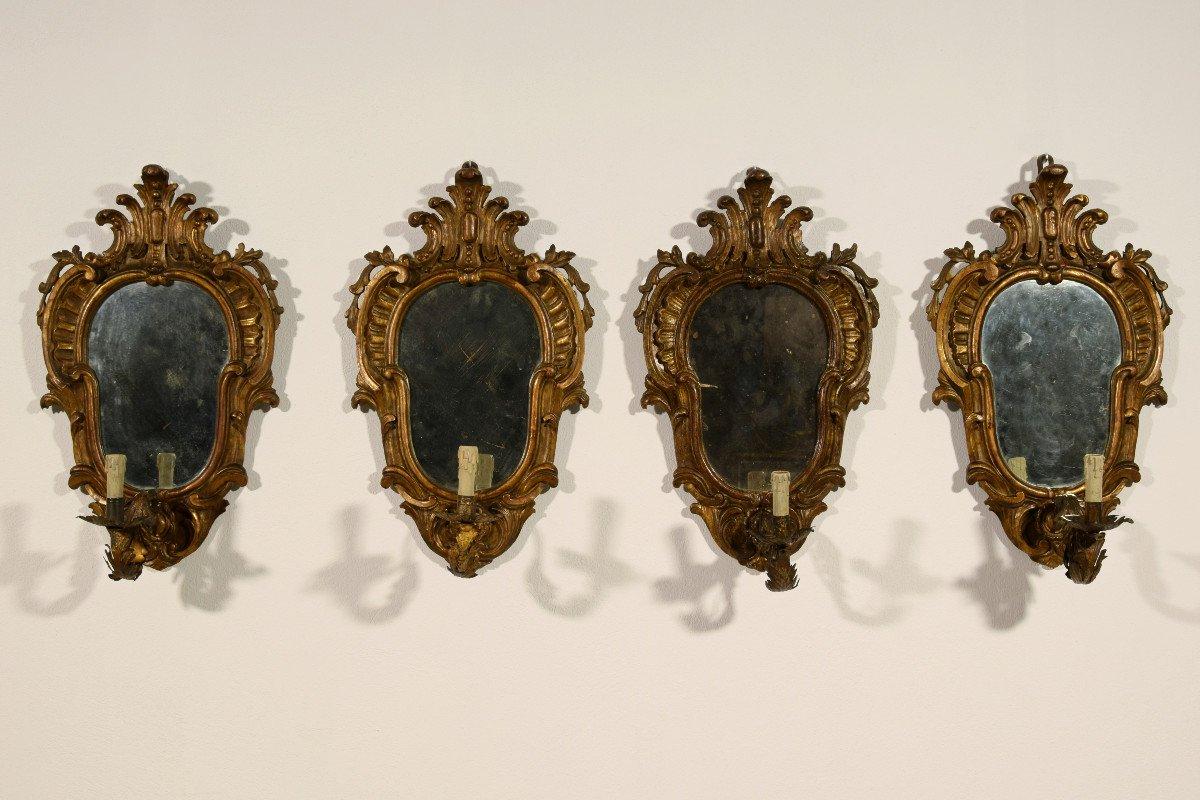 Quatre Appliques En Bois Sculpté Et Doré, Style Louis XV, Turin, XIXe Siècle