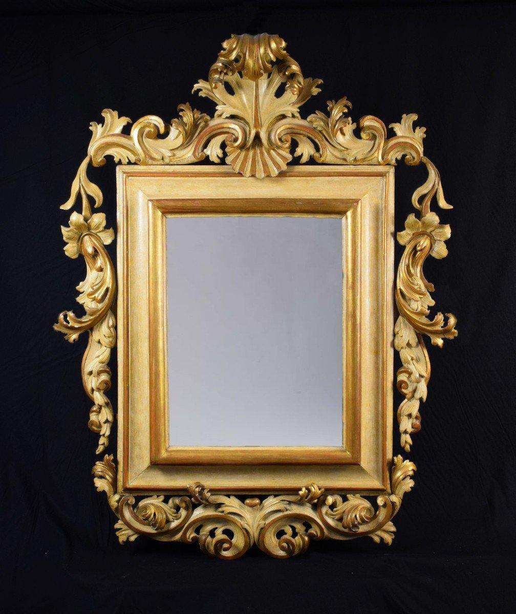 Grand Miroir Laqué Et Doré à Motifs Rocaille, Italie, Début Du 18ème Siècle