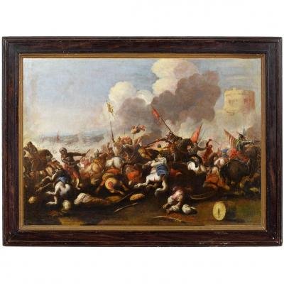 Antonio Calza (1653 - 1725) Battle Between Christian And Turkish Cavalry With Circular Tower