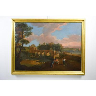 18th, Roman School, Follower Of Paolo Anesi, Roman Landscape With The Milvio Bridge