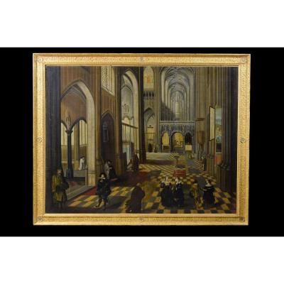 Intérieur De La Cathédrale Notre-dame D'anvers, Peintre Flamand Actif Au XVIIe Siècle