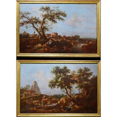 Giuseppe Zais,  Paire De Peintures Représentant Des Paysages Arcades Avec Des Figures