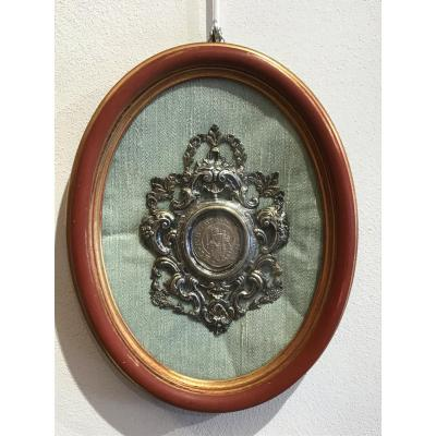 18th Century Italian Silver Frame With Italian Silver Coin Of 1683
