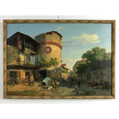 Marché à La Tour De Giaveno, Carlo Piacenza, Italie 1850-60