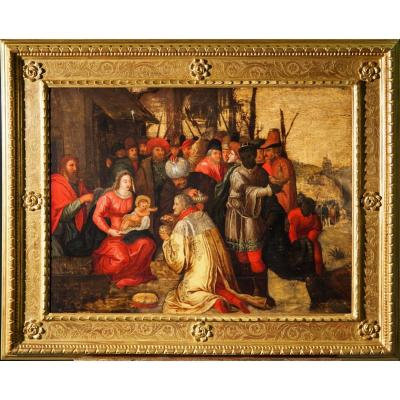 17th Century, Flemish Oil On Panel, The Adoration Of The Magi By Frans Franken III And Aid