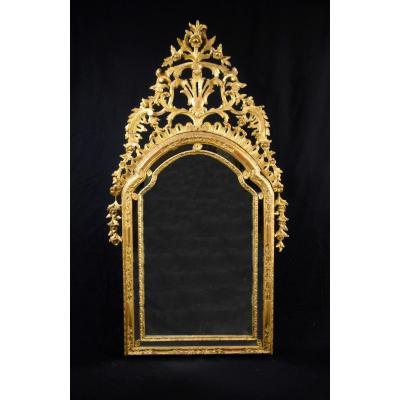 Miroir En Bois Finement Sculpté Et Doré, Piémont, XVIIIe Siècle