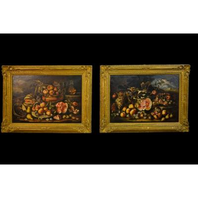 Pair Still Life By Follower Of Michele Pace Called Michelangelo Da Campidoglio