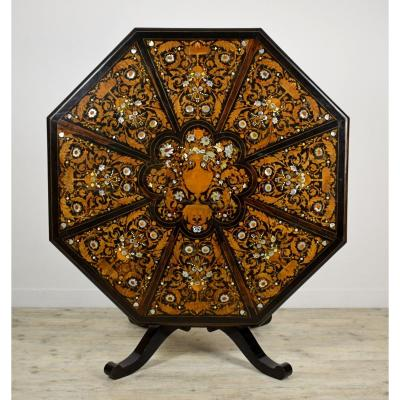 19th Century, Italian Octagonal Sail Plan Center Table By Luigi And Angiolo Falcini