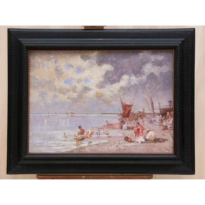 Lagune Vénitienne, Signé Biagio Milanese (1886-1968), Peinture à L'huile Sur Toile