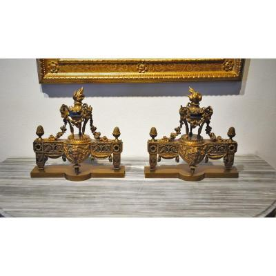19th Century, Pair Of French Gilt Bronze Fireplace Chenets