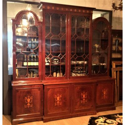 19th Century, England Inlaid Wood Bookcase