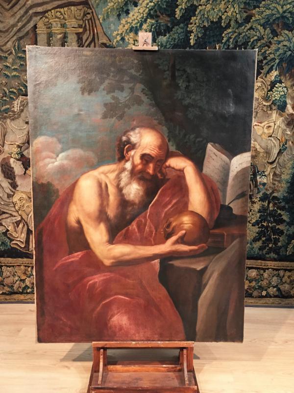 Peintre Italien Du XVIIe Siècle, Saint Jérôme En Méditation-photo-2