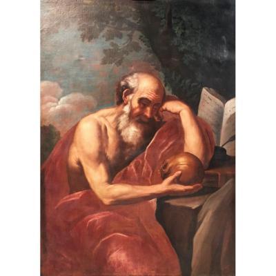 Peintre Italien Du XVIIe Siècle, Saint Jérôme En Méditation