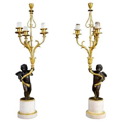 Paire De Candélabres En Bronze Doré Et Patiné, XVIIIe Siècle, France