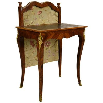 18th Century, French Louis XV Center Writing Desk With Sliding Shade