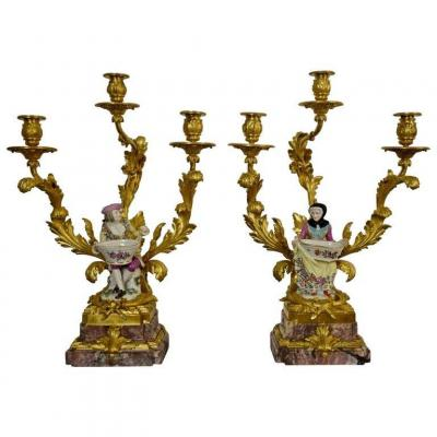 19th Century, Pair Of French Gilt Bronze Candlesticks With Polychrome Meissen Porcelain