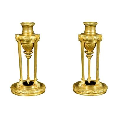 Small Pair Of Finely Chiseled Gilded Bronze Candlesticks, France Mid-19th Century