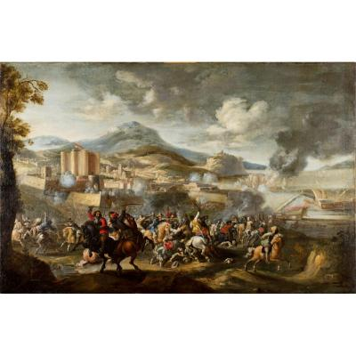 Marzio Masturzo, Battle Between Cavalry And Vessels, Oil On Canvas, Italy 18th Century