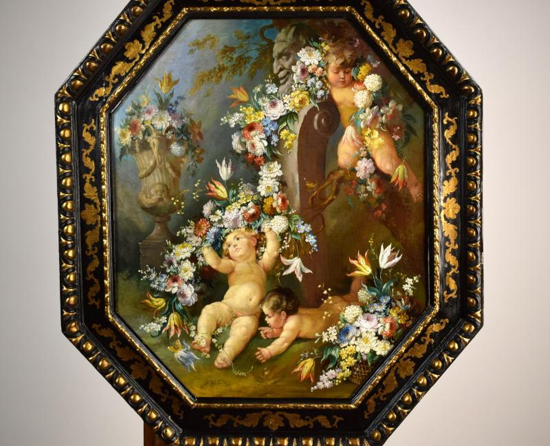 Peintre Romain Du XIXe Siècle,  Nature Morte Avec Putti, Festons De Fleurs, Huile Sur Toile-photo-2