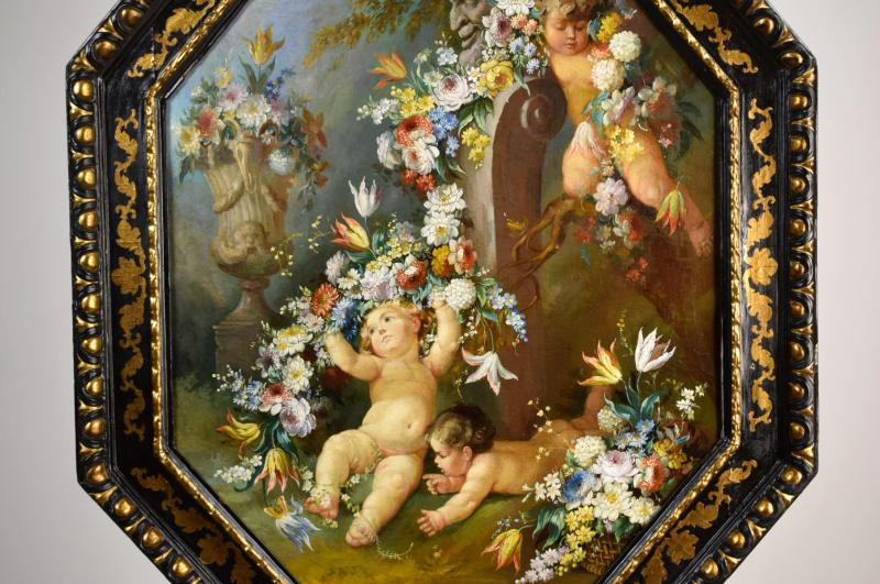 Peintre Romain Du XIXe Siècle,  Nature Morte Avec Putti, Festons De Fleurs, Huile Sur Toile-photo-3