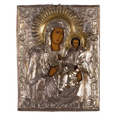 Icône Avec La Vierge à L'enfant, Peinture Sur Panneau, Revêtement En Cuivre Argenté,xixe Siècle