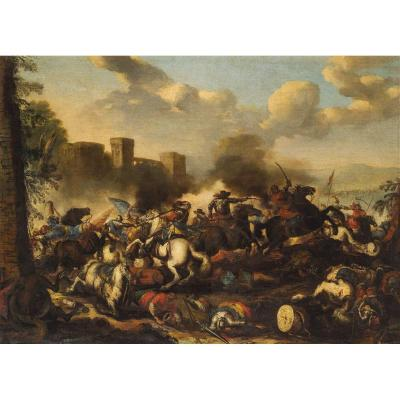 Antonio Calza (1653 - 1725) Battle Between Christian And Turkish Cavalry With Castle