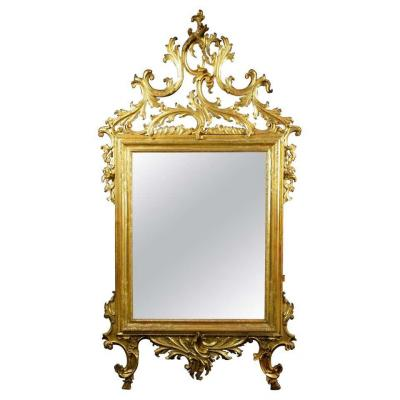 18th Century Venetian Carved And Gilt Wood Mirror