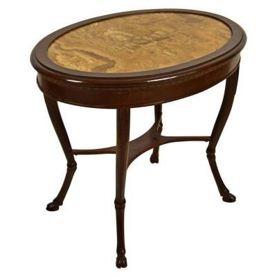 Table Basse Néoclassique En Bois Et Plateau Ovale En Albâtre Fleuri, Italie, XVIIIe Siècle