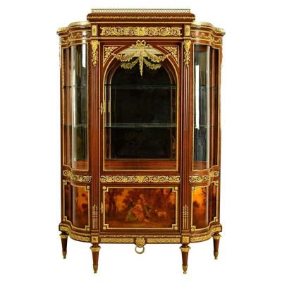 19th Century, Mahogany And Gilt Bronze French Showcase