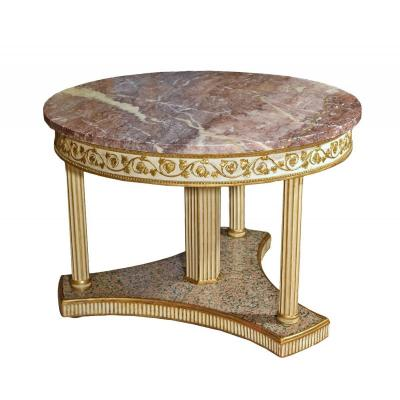 18th Century, Italian Neoclassical Round Lacquered Wood Center Table With Marble Top