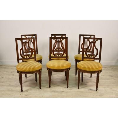 Six Chaises Et Deux Fauteuils En Bois, Style Louis XVI, France Fin XIX Siècle