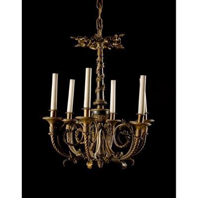 Lampadaire à Six Lumières En Bronze Ciselé Et Doré, France XIXe Siècle