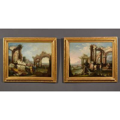 18th Century, Pair Of Italian Paintings With Landscapes With Ruins By Gaetano Ottani