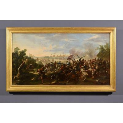 17th Century, Italian Oil On Canvas Painting With Battle Between Christian And Turkish Cavalry