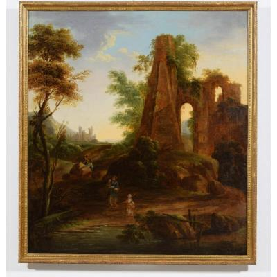 18th Century, Italian Oil On Canvas Painting Depicts A landscape With Ruins