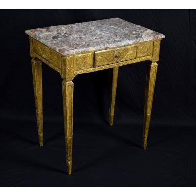 Golden Table In Carved And Gilded Wood. France 18th Century