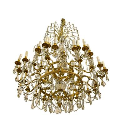 20th Century, Gilt Bronze Crystal Louis XVI Style Chandelier