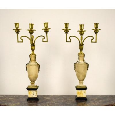 18th Century Pair Of Italian Gilt Bronze Candelabrum Attributed To Giuseppe Valadier