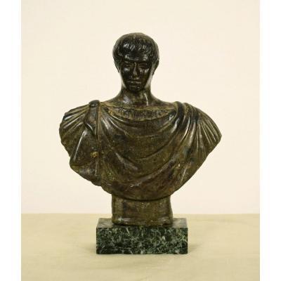 Ancien Buste En Pierre Sculpté, Empereur Romaine, XVIIe Siècle